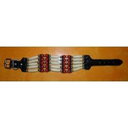Bracelet indien os , country 5 rangs rouge