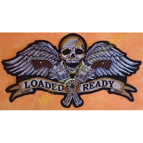 Patch biker, écusson harley loaded, grand format