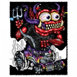 Sweat capuche biker biker red monster purple hot rod