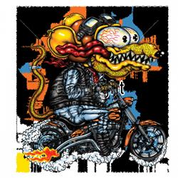 Sweat capuche biker yellow monster orange cycle.