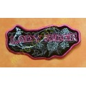 Patch, écusson lady rider roses strass