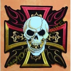 Patch, écusson croix de malte couleurs, tête de mort
