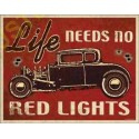 Plaque metal decorative red lights