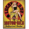 Plaque metal decorative lucky lady motor