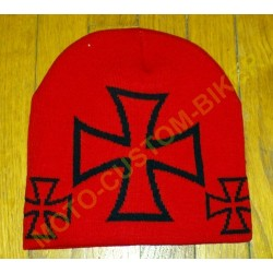Bonnet biker rouge croix de malte