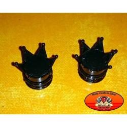 Bouchons de valves moto couronne noir