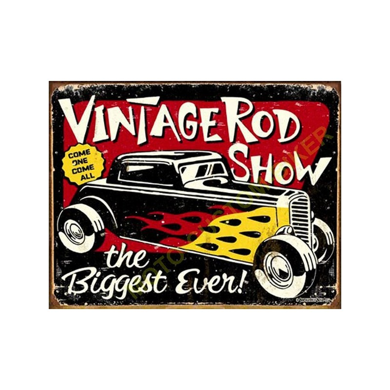Plaque metal decorative vintage rodshow motocustombiker accessoiresbiker - Plaque publicitaire vintage ...