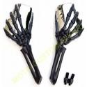 Rétroviseurs moto mains squelettes noir et chrome.