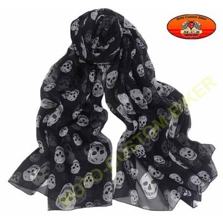 Foulard noir motif têtes de mort