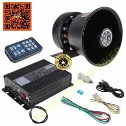 Kit black devil : Sirène américaine électronique avec ampli alu noir de 200w et HP noir