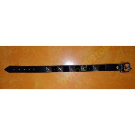 Bracelet biker cuir motif clous noir et chrome