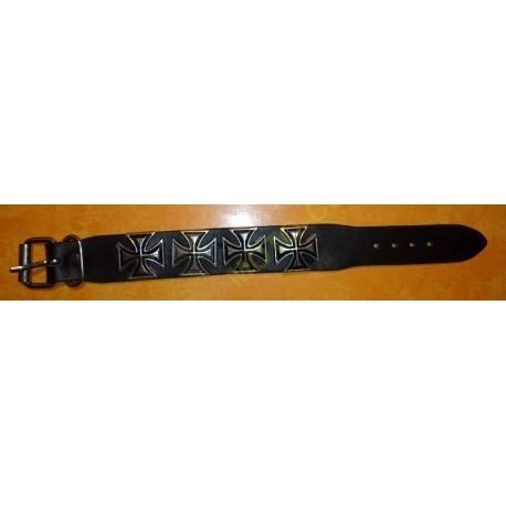 Bracelet biker cuir croix de malte