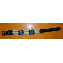 Bracelet indien country 3 rangs bleu