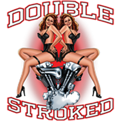 T shirt biker double stroked