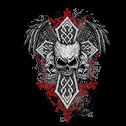 T shirt biker skull & cross
