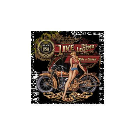 T shirt biker live the legend babe