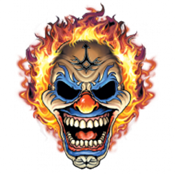 T shirt biker clown flaming