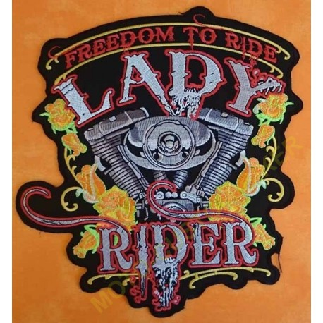 Patch biker, écusson harley freedom lady rider, grand format