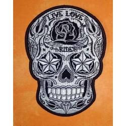 Patch, écusson sugar skull live love ride