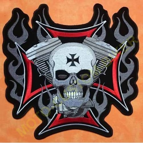 Patch, écusson tête de mort v twin