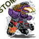 Sweat biker purple monster red hot rod