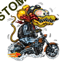 Sweat biker yellow monster orange cycle.