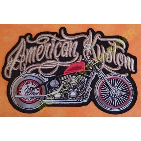 Patch biker, écusson harley american kustom, grand format