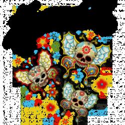 T Shirt enfant skull butterfly