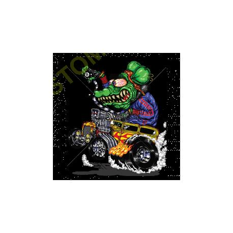 Sweat zippé biker green monster yellow hot rod