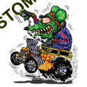 Sweat zippé biker green monster yellow hot rod