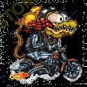 Sweat zippé biker yellow monster orange cycle.