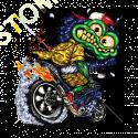 Sweat capuche biker green monster cycle
