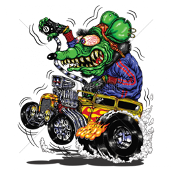 Sweat capuche biker green monster yellow hot rod
