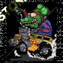 Sweat capuche biker green monster yellow hot rod