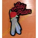 Patch, écusson lady rider plume blanche