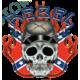 Sweat capuche avec zip rebel confédéré