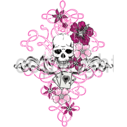 T shirt femme skull flowers