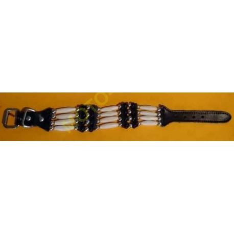 Bracelet indien os , country 4 rangs noir