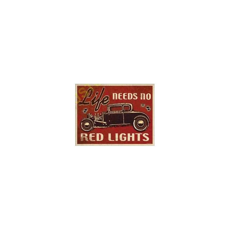 plaque metal decorative red lights motocustombiker accessoiresbiker. Black Bedroom Furniture Sets. Home Design Ideas