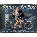 Plaque metal decorative pump go gas