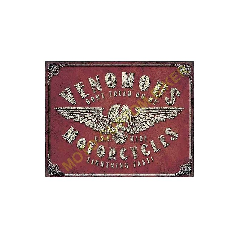 plaque metal decorative venomous motorcycles motocustombiker accessoiresbiker. Black Bedroom Furniture Sets. Home Design Ideas