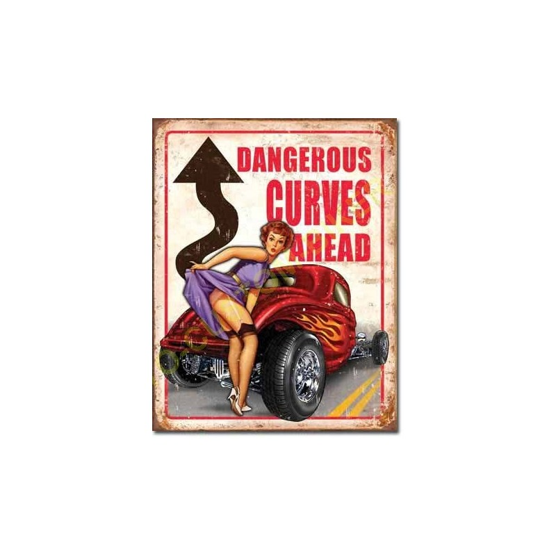 plaque metal decorative dangerous curves motocustombiker accessoiresbiker. Black Bedroom Furniture Sets. Home Design Ideas