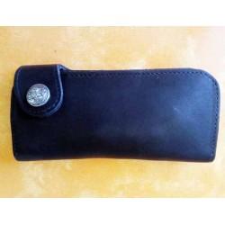 Portefeuille cuir noir grand format