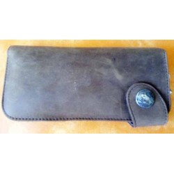 Portefeuille cuir marron grand format