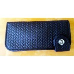 Portefeuille cuir noir tréssé grand format
