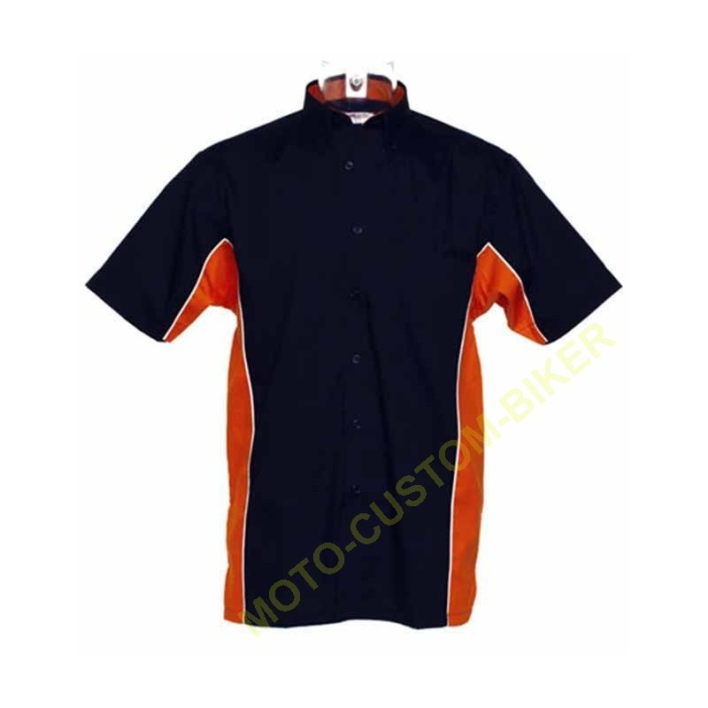 Noir, Biker Messieurs hemdjacke carreau noir//orange Harley-Davidson Orange