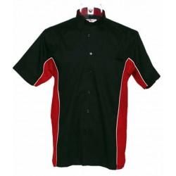 Chemisette biker noir, rouge.