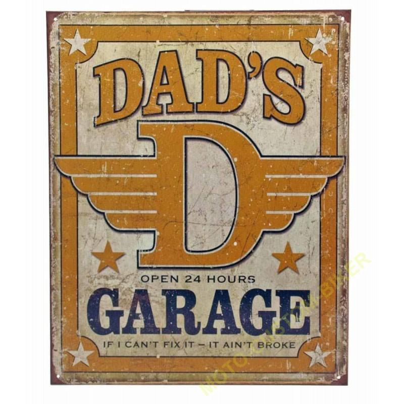 plaque metal decorative dad garage motocustombiker accessoiresbiker. Black Bedroom Furniture Sets. Home Design Ideas