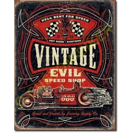 plaque metal decorative vintage evil motocustombiker accessoiresbiker. Black Bedroom Furniture Sets. Home Design Ideas