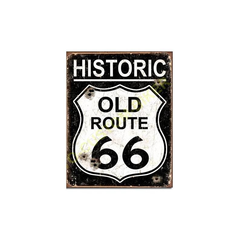 plaque metal decorative old route 66 motocustombiker accessoiresbiker. Black Bedroom Furniture Sets. Home Design Ideas